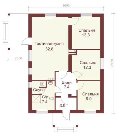 Проекты домов из кирпича до 100 кв.м фото